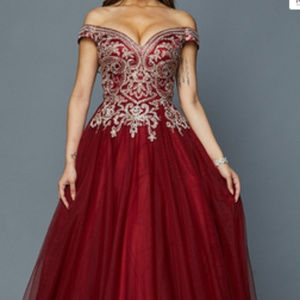 Burgundy Jeweled Ballgown Long dress